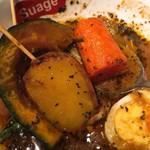スープカリー スアゲ プラス - じゃがいもとにんじんの大きさがハンパじゃない。