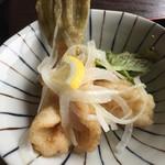 だんだん館 - カワハギの唐揚げマリネ風。身が柔らかくタンパクで美味しい。