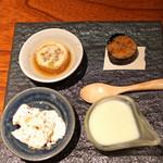 とっぴんぱらりのぷ - お通し 枝豆の冷製クリームスープ、リュウホウ大豆とリュウホウ豆腐 塩とブラックペッパーで、信田巻き、ガーリックライス海苔巻き