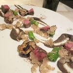 GINA - 鹿児島県産 和牛もも肉のロースト トリュフのタップナードと加茂茄子田楽