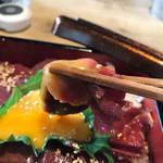 馬肉と酒 生肉専家 TATE-GAMI - 卵黄たっぷり