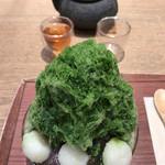 たねや茶屋 - ★★★ かき氷 抹茶+ソフトクリーム  +¥200で氷にソフトクリームを追加、中に隠れています