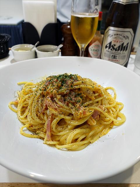 HIDE - ベーコンとタマゴとキムチのスパゲッティ