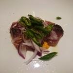 72093252 - Antipasto ケンケンカツオ(和歌山)のカルパッチョ ペストトラパネーゼ ※明石蛸のカルパッチョの代替料理