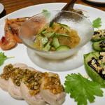 72105161 - 前菜盛り合わせ(ごりの酢漬け・青ナス甜麺醤・クラゲ・甘海老紹興酒漬け・蒸し鶏)