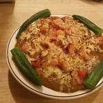 ぺろり - チーズカレー トマト、オクラトッピング