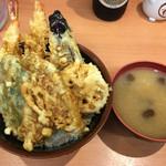 天ぷら 豊野 - 天丼(小)味噌汁付き800円