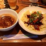 博多ラーメン 龍ノ髭  - 料理写真:濃厚魚介と角煮の極太平打ちつけ麺大盛り1100円