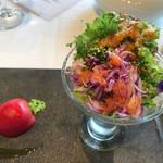 72126943 - サラダパフェ+カニのムースリーヌと果実を包んだ夏トマトのファルス