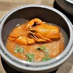 エッグ - 阿寒湖のエクルビス(ザリガニ) カリフラワーのムース トマトのスープ