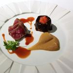 ウトコ オーベルジュ&スパ - 和牛のソテー 赤ワインソース 鰹のムサカと共に