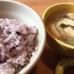 日和食堂 - 古代米のご飯とみそ汁