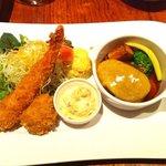 洋食mais - 2500円ディナーコース フライ盛り合わせ 海老とカニコロッケ