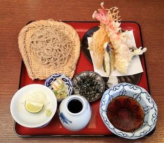 手打そば千花庵 - 天然大海老と野菜天付ざる蕎麦(御夫人のざる蕎麦食べ比べ)2246円