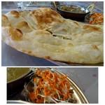 インドネパール料理 ヒマラヤキッチン - ◆ナンは少し甘めで好みのタイプ。 ◆サラダはほぼキャベツ。