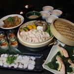 武蔵 - 山口県高森産ハーブ鶏と大黒しめじ入り秋野菜のせいろ蒸しコース2500円