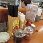 天丼てんや - 安価に天丼が食べれるとあって夕食時のお店は多くのお客様で賑わってましたがカウンターには少し空席があったんで此方を使わせていただいて食事です。