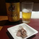 麺 みつヰ - エビスビール(中瓶)※おつまみ付き2017.8.26