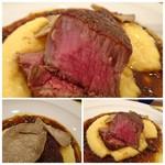 レストラン スーリール - *和牛は厚みもあり美味しいこと。とっゆふもタップリ盛られています。 マデラソースにはトリュフやベーコンなどはが入り、とても美味しい。焼き加減といい、技を感じる品でした。