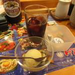 すし田村 - アイスコーヒー、ゆずシャーベット付き