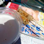 中国料理 百楽 - 【おまけ画像】ワンパターンの組み合わせ(生ビールと牛タンつくね串)。ピンボケ失礼。