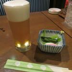 武蔵野そば処 - 生ビール・お通し