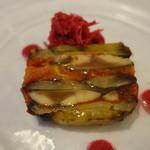 72269297 - スモークした鯖、焼きナス、トマトのテリーヌ