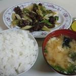 上海亭 - 牛肉と長ネギ炒め定食@750