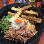 ふたみうどん研究所 - 五棒天うどん+牛肉トッピングの麺大盛