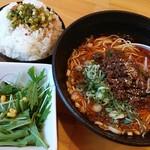 大名ちんちん - Cランチ、サンラー麺・ごはん・サラダと→杏仁豆腐