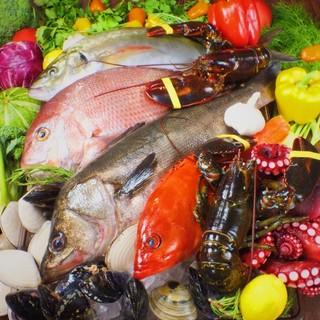 新鮮な魚介と農園野菜