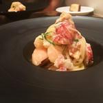 イタリアン アンド ワイン チャコール - 桃とオマール海老のカッペリーニ