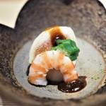 まる富 - 料理写真:胡麻豆腐 練味噌掛け 無花果 車海老