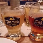 YONA YONA BEER WORKS - ・3種飲み比べ 1280円 (水曜日のネコ・軽井沢高原ビール ワイルドフォレスト・軽井沢高原ビール シーズナル2017)