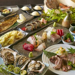 厳選した三陸の海の幸とこだわりの食材を使用。