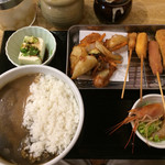 海老元 - 串カツ定食¥800、ミニカレーを大盛りにしてプラス¥100