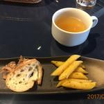 後藤 - バゲット&パテ?とパスタの前菜、スープ