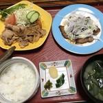 日本料理 磯駒 - 料理写真:鮪ステーキと豚肉の生姜焼き