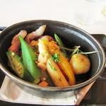 72361284 - 県産ポーク肩ロースと季節野菜のにんにく醤油ロースト。