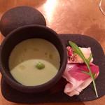 72361480 - 枝豆とフォアグラの蒸し物と生ハムとパテ