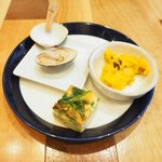 焼はまグリル@stylo∞ - ランチセット 1300円 のハマグリ、カボチャ、玉子焼き