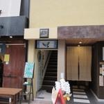 ブリュワーズ コーヒー バンヂロ - お店は上川端商店街の中にある建物の2階にあります。