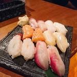 寿しやの台所 - 第一弾(あじ・ひらめ・サーモン・つぶ貝・甘えび・はまち)