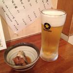 海味 魚がし - お通しと生ビール