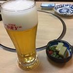 磯浜 - 生ビール・つきだし①