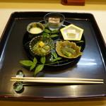 Chihiro - 八寸 鯛の肝ゼリー寄せ、豆腐の金山寺味噌漬、オクラ、メロンときゅうり、鱧の子