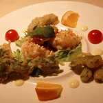 シノワーズ 厨花 - 同席者が選んだ「春野菜と海老のマヨネーズソース広東風」です。