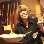 遊食彩宴居酒屋 Jambo家 - エールの旗付きサラダ メッチャ笑顔で。元気貰えた~♪(顔出しOK頂いてます)
