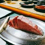 72484104 - お肉1人前は100gとのこと。写真は店主おすすめの仙台牛ヒレ200gくらいで1580円×2。特製のたれで頂きます。