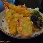 いちりきや - 天ぷら定食。天麩羅アップ。海老は2本入り。(2017/8/6)